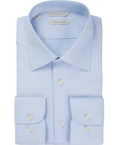 Light Blue Pied de Poule Shirt