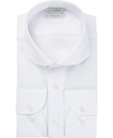 White Herringbone Traveller Shirt