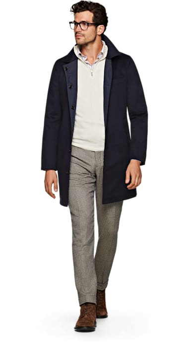 Navy Double Face Coat Jort