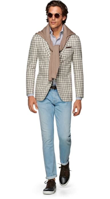 Havana Light Brown Check Jacket