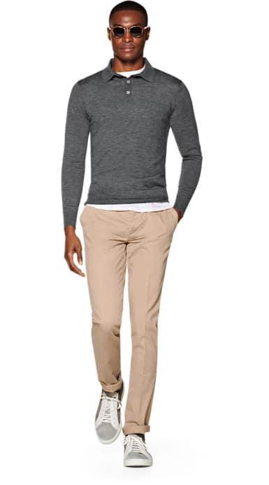 Dark Grey Long Sleeve Polo