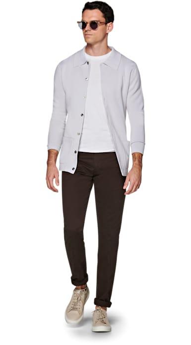 Light Grey Polo Cardigan