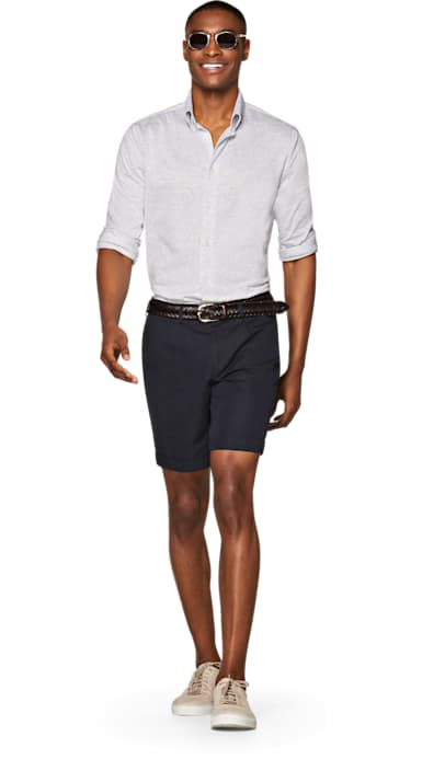 Navy Bennington Pleat Shorts