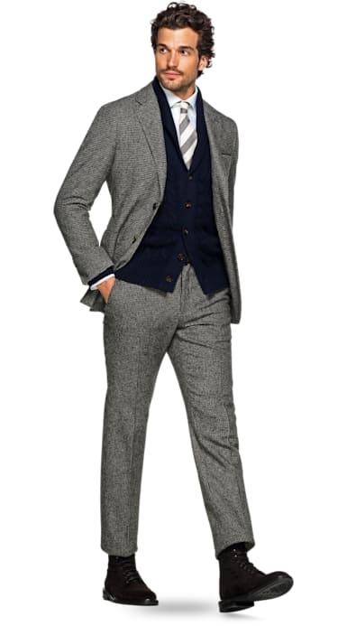 Havana Brown Houndstooth Suit