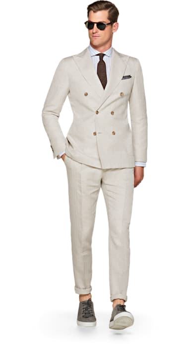 Havana Off White Herringbone Suit