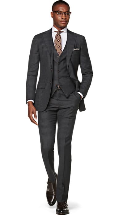 Lazio Grey Stripe Suit