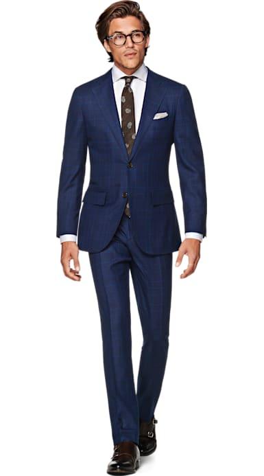 La Spalla Navy Check Suit