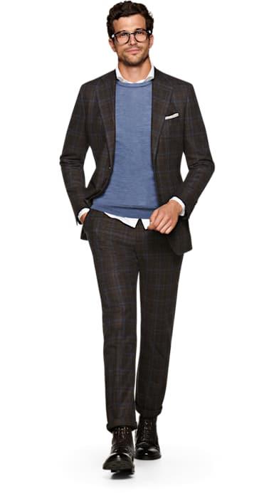 Lazio Brown Check Suit