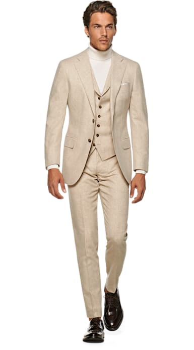 Lazio Light Brown Plain Suit