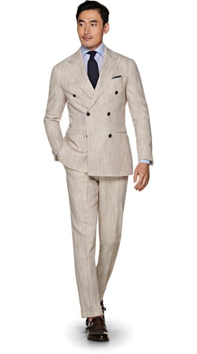 Jort Light Brown Stripe Suit
