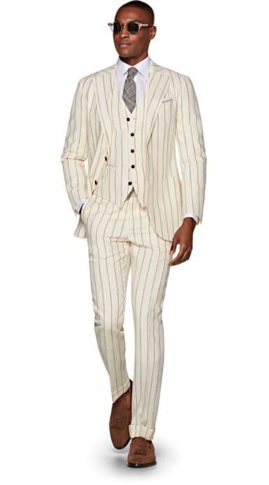 Jort Off White Stripe Suit