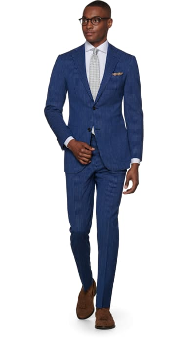 Havana Mid Blue Stripe Suit