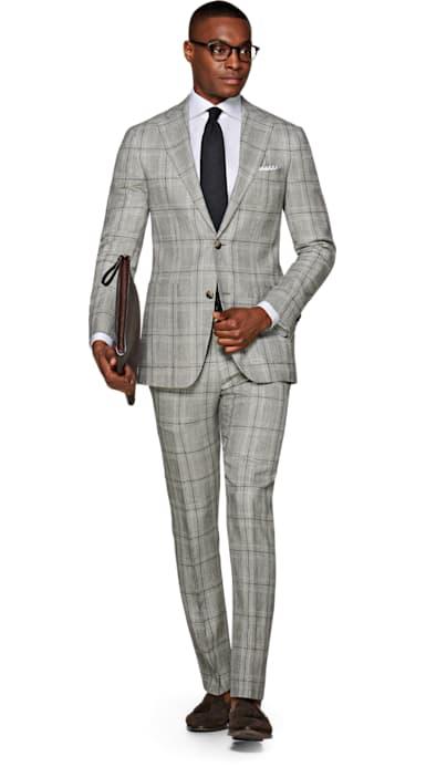Havana Light Grey Check Suit