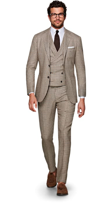Havana Brown Houndstooth Suit