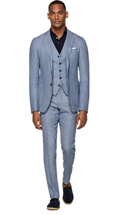 Havana Light Blue Houndstooth Suit