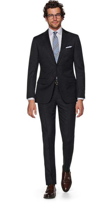 Napoli Navy Herringbone Suit