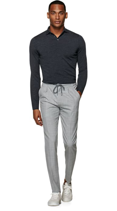 Light Grey Ames Pleat Trousers