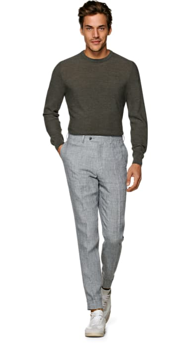 Light Grey Brescia Turn Up Slim Fit Trousers