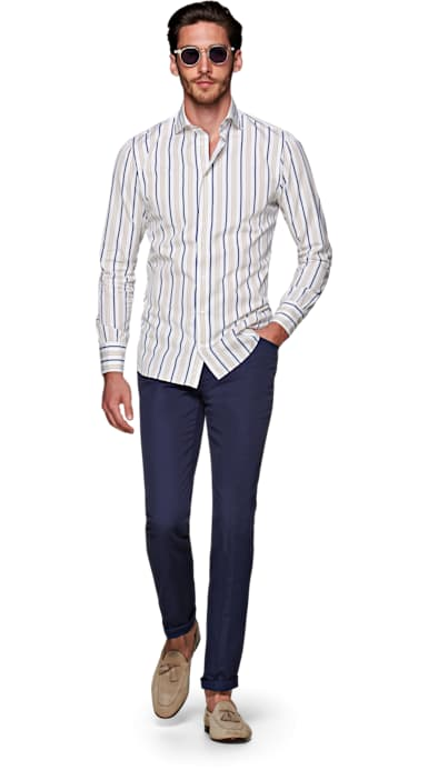 Navy Jort Casual Trousers