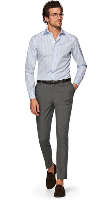 Grey Brescia Turn Up Slim Fit Trousers