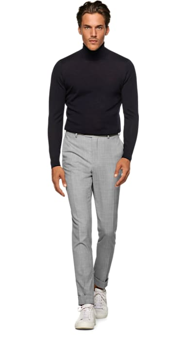 ac8e19963d6 Light Grey Brescia Turn Up Slim Fit Trousers