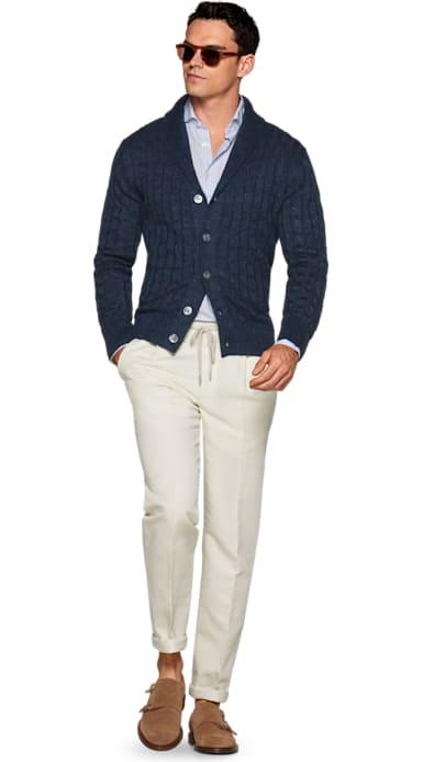 Blue Shawl Collar Cardigan