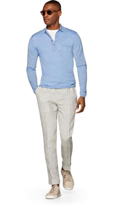 Light Blue Long Sleeve Polo Jort