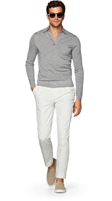 Grey Long Sleeve Polo Jort