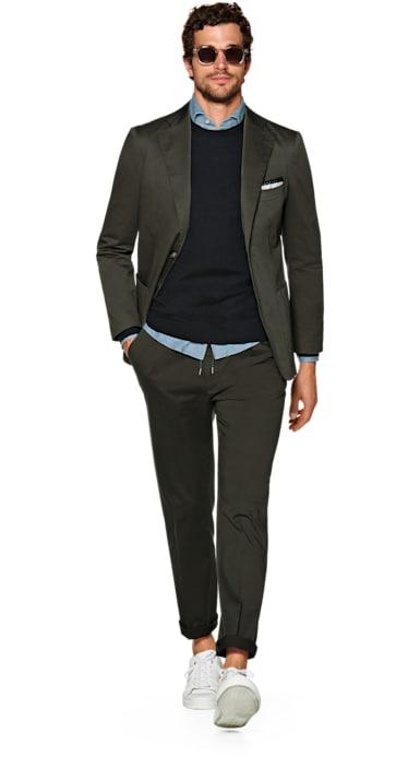 Havana Green Plain Suit