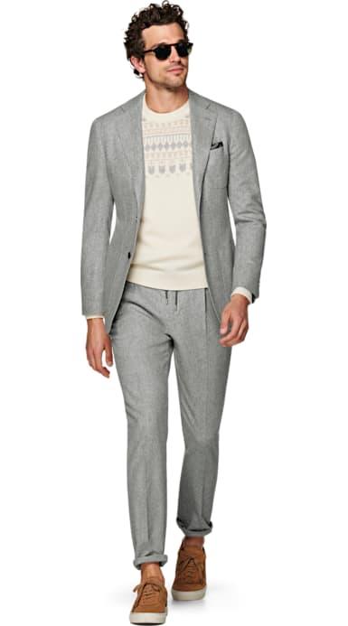 Havana Light Grey Plain Suit
