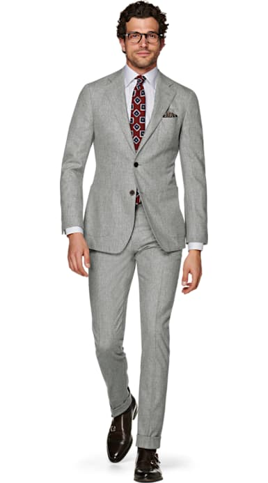 Havana Light Grey Plain Suit