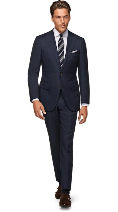 Lazio Navy Plain Suit