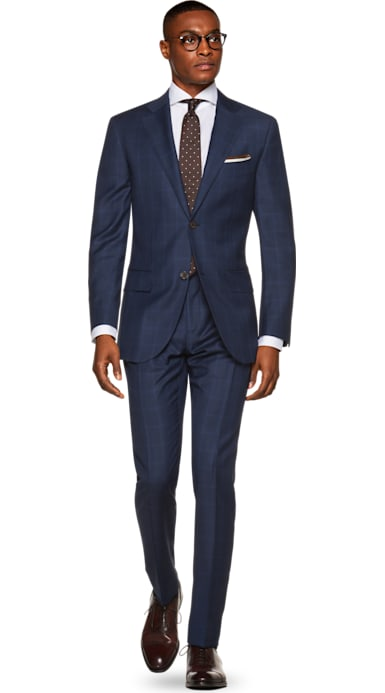 La Spalla Blue Check Suit