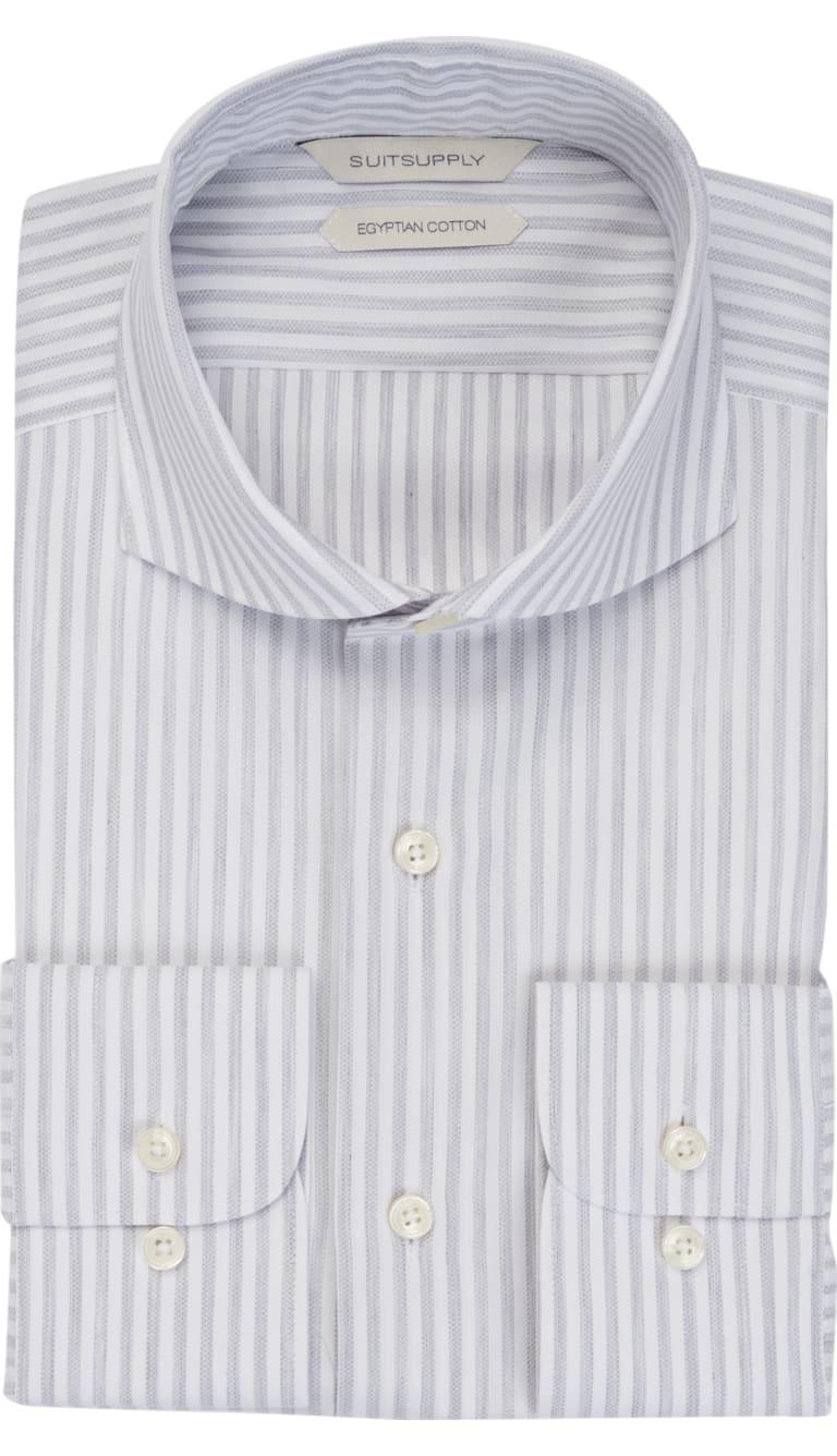 Grey Stripe Shirt Single Cuff H5944u Suitsupply Online Store