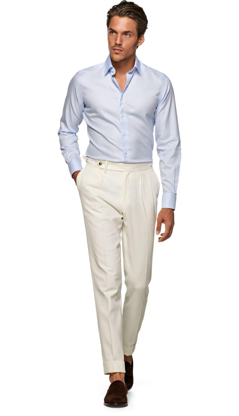 Light Blue Traveller Shirt Single Cuff H9004u Suitsupply Online Store