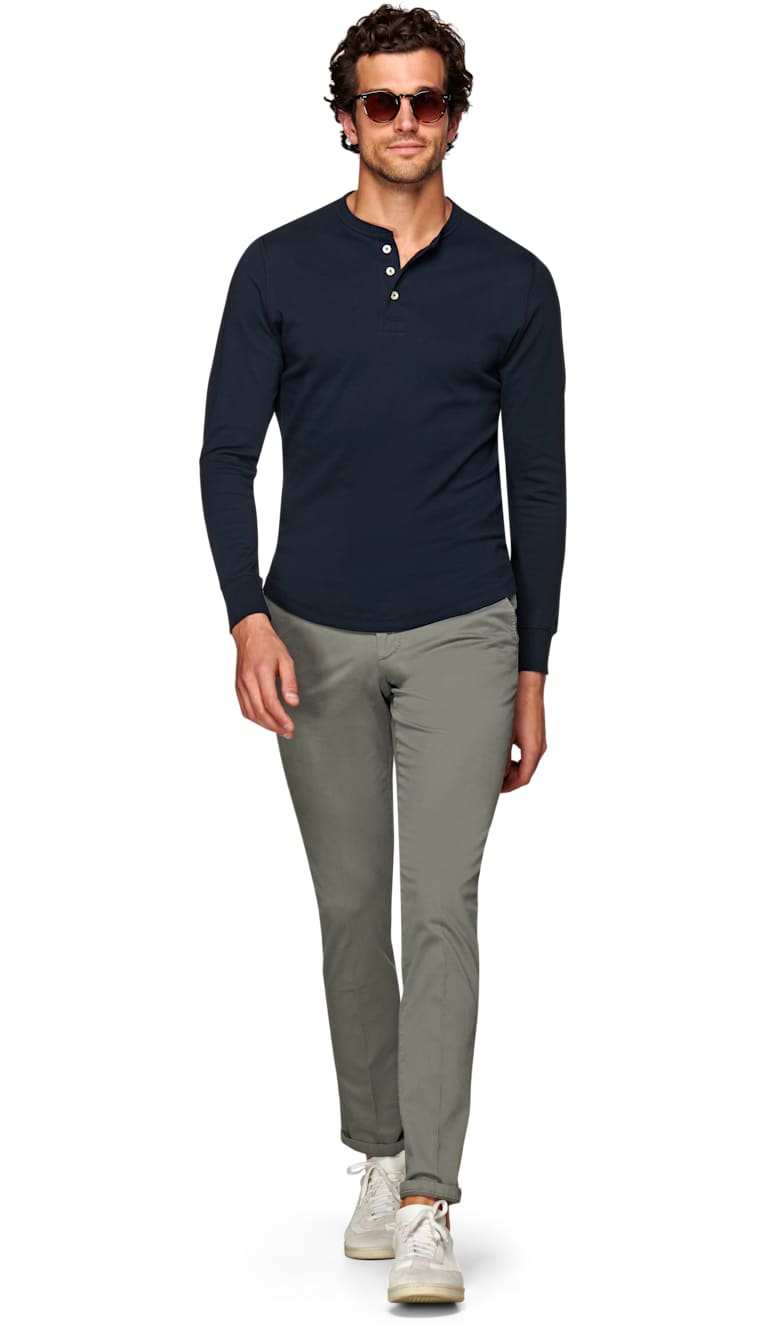 Navy Henley T Shirt by Suitsupply