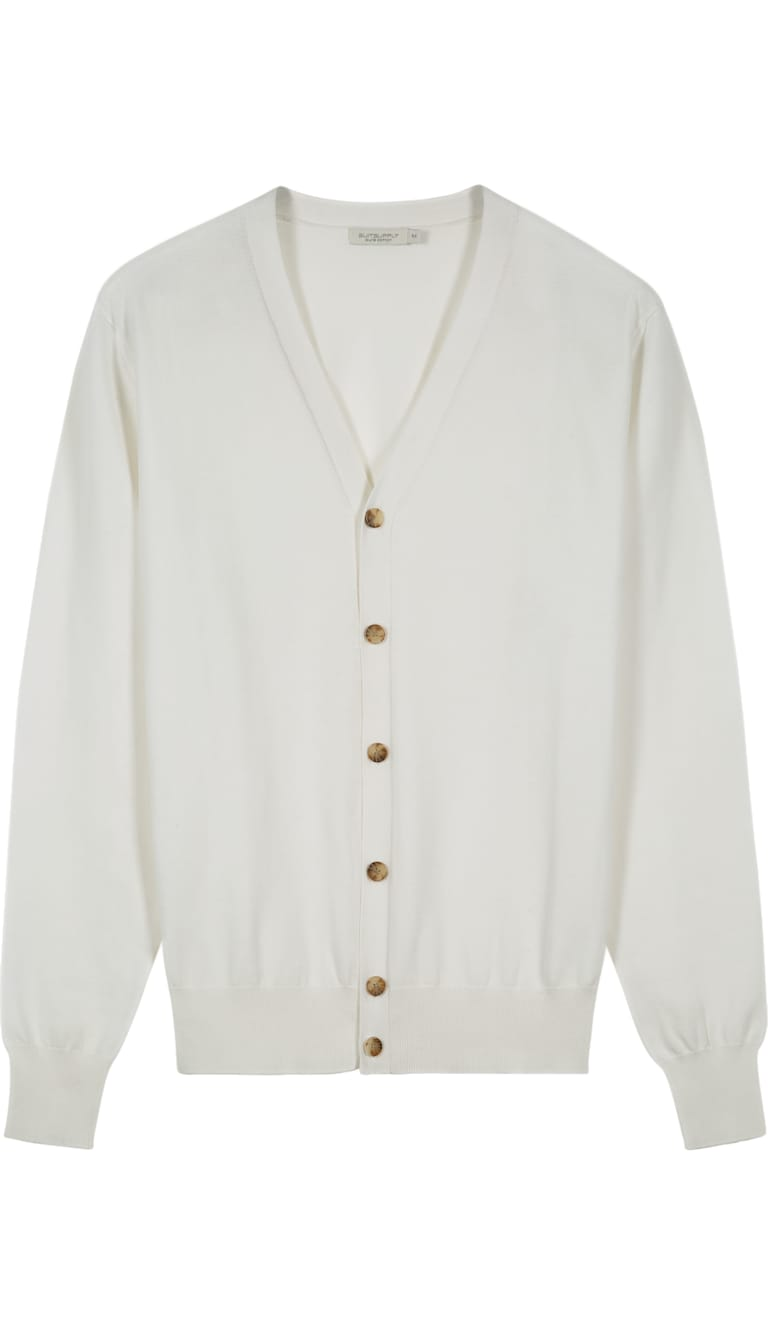 Off White Cardigan Sw799   Suitsupply Online Store