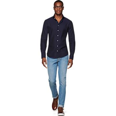 Navy_Flannel_Shirt_Single_Cuff_H5814U