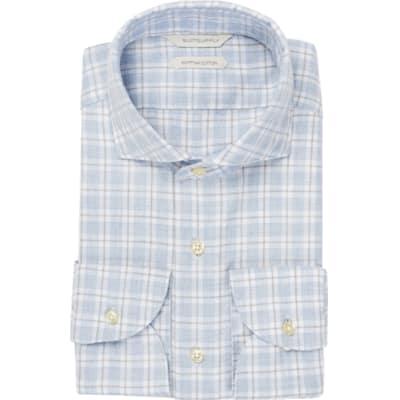 Light_Blue_Check_Flannel_Shirt_Single_Cuff_H5828U