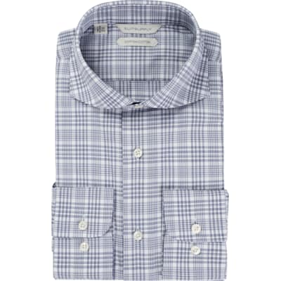 Navy_Check_Shirt_Single_Cuff_H5769U