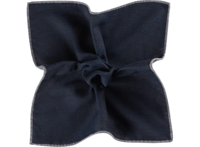 Navy Pocket Square Double Sided