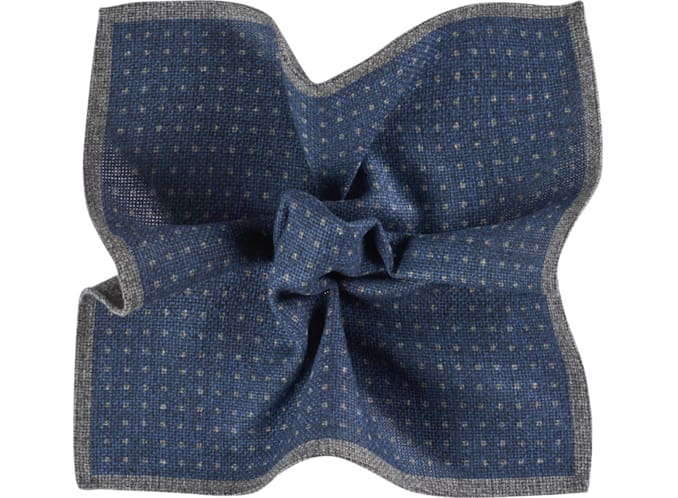 Blue Pocket Square Double Sided
