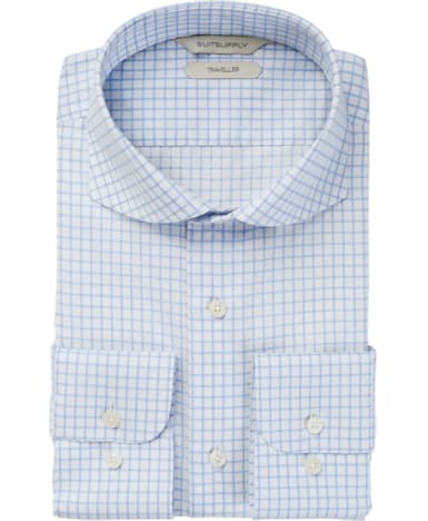 Blue Windowpane Traveller Shirt