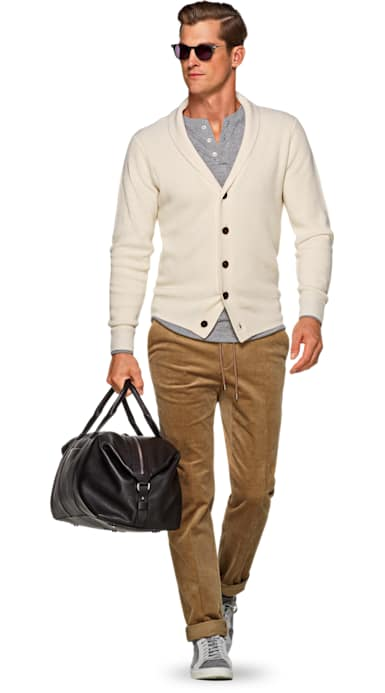 Off White Shawl Collar Cardigan