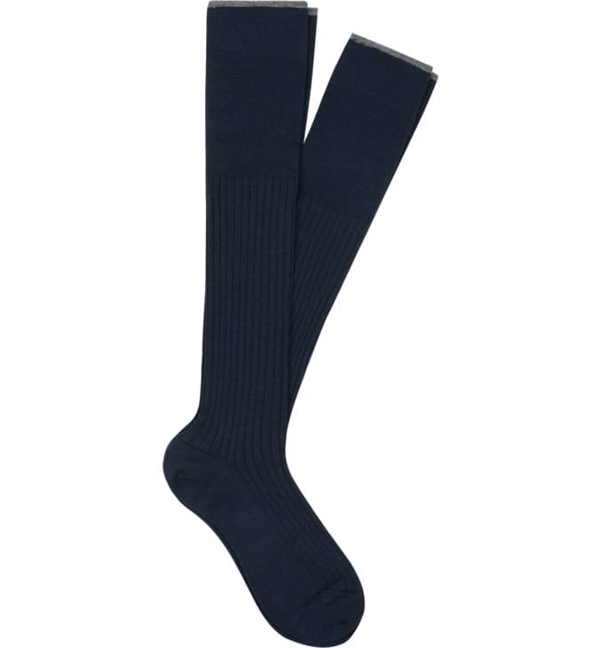 Navy Jort Socks Knee High 2-pack