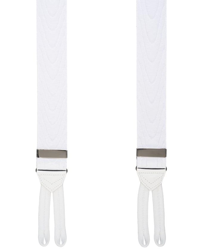 White Jort Suspenders