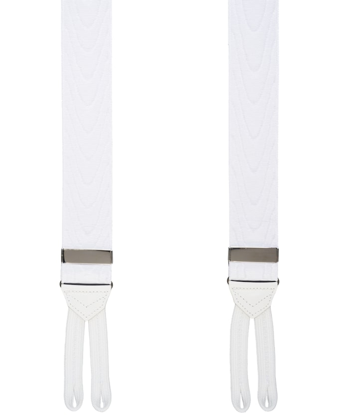 White Jort Suspenders